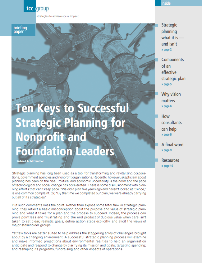 Ten Keys to Successful Strategic Planning for Nonprofit and